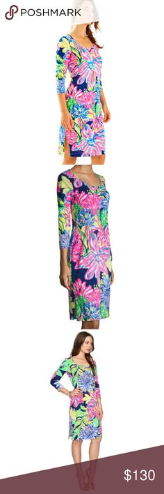 "lilly pulitzer // 3/4 sleeve midi dress NWT Lilly Pulitzer vivid print 3/4 sleeve midi dress with side slots and scoop neck. 40"" from top of shoulder to hem. Pima cotton. Lilly Pulitzer Dresses"
