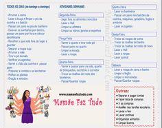 MamãeFazTudo: Rotinas Diarias x Dia da Faxina