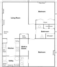 600 square foot In-law Apartment floor plan.   In Law Apartment ...