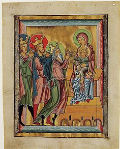 """""""Adoration of the Magi"""" Ca 1235-50 Southern Germany or Austria Tempera and gold and silver leaf of perchment"""