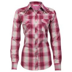 cowgirl clothing | Cowgirl Hardware Women's Plaid Long Sleeve Western Shirt