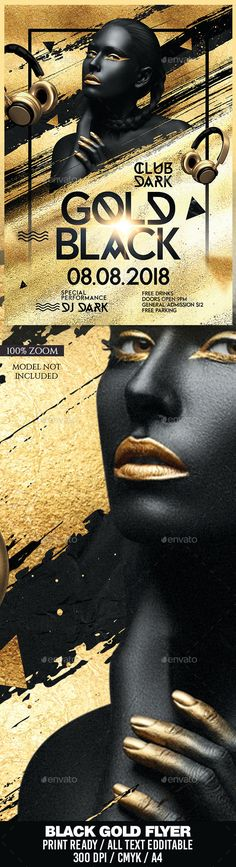 Buy Gold Black Party Flyer by darkmonarch on GraphicRiver. Gold Black Party Flyer Template Features Easy customizable and editable CMYK setting bleed area) Laye. Flyer Design Templates, Flyer Template, Tie Template, Black Gold Party, Free Typeface, Flyer Design Inspiration, Party Flyer, Graphic Design Posters, Business Flyer