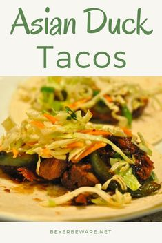 Asian duck tacos combine the ginger sesame flavors on roasted duck breasts and topped with a tangy Asian slaw for amazing Asian inspired tacos. Best Grill Recipes, Duck Recipes, Asian Recipes, Healthy Recipes, Healthy Meals, Delicious Recipes, Easy Recipes, Healthy Eating, Asian Tacos