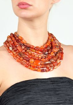 Monies Unique 9 Strand Carnelian Necklace » Santa Fe Dry Goods | Clothing and accessories from designers including Issey Miyake, Rundholz, Yoshi Yoshi, Annette Görtz and Dries Van Noten