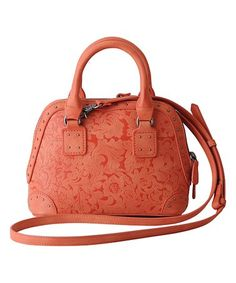 Look what I found on #zulily! Coral Floral Embossed Mini Satchel #zulilyfinds