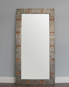 Large Bone Encrusted Arabic Style Mirror