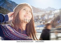 Beauty asian woman outdoor looking up, she going to ice skating, at ice rink, winter