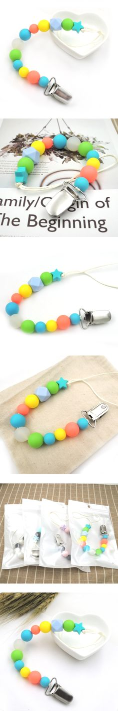 New arrival neo rainbow silicone round  beads star pacifier clip dummy chain baby girl colorful paci chain metal clips BSP08