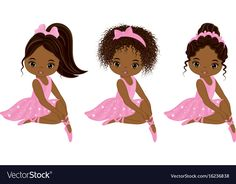 Vector Cute Little African American Ballerinas Stock Vector - Illustration of child, ballet: 96997950 Black Girl Art, Art Girl, Pink Tutu Dress, Tutu Dresses, Birthday Qoutes, Ballerina Baby Showers, Black Art Pictures, Ballet Dancers, Diy Doll