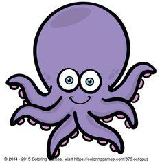 Octopus coloring page & Octopus online coloring game for kids Cartoon Fish, Cartoon People, Octopus Coloring Page, Octopus Colors, Coloring Games For Kids, Murals For Kids, Sidewalk Chalk Art, Cute Fish, Fishing Humor
