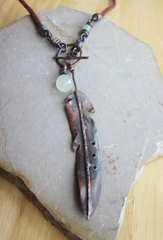 boho hippie copper feather charm necklace handmade jewelry artisan jewelry