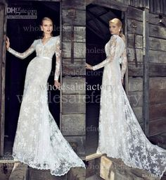 Wholesale 2013 Bridal lace Sheath Wedding dresses High V Neckline Wedding Dresses with Long Sleeves RD13002, Free shipping, $153.44-155.68/Piece   DHgate