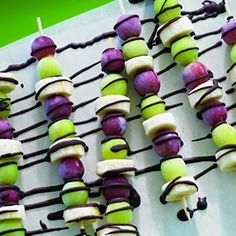 Frozen Grape and Banana Skewers with Chocolate Drizzle... Perfect for a Scentsy Summer BBQ