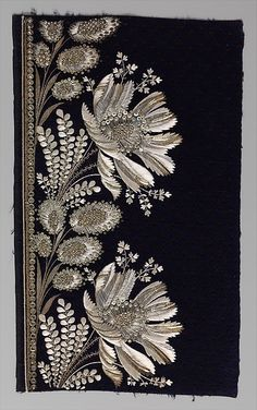Embroidery sample for a man's suit - Silk and metal thread on velvet - 1800-15 - Metropolitan Museum of Art