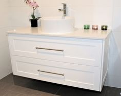 1200 Lucca wall hung vanity in shaker style panel with Snow Caesarstone top #shaker #stonetop #hamptons