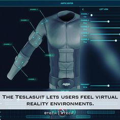 An awesome Virtual Reality pic! A UK based company has created a wireless suit that allows users to feel real sensations in the virtual world. The Teslasuit will seriously take virtual reality to the next level. The EMS integrated suit elevates the virtual reality experience so that users can actually interact with with their environment. The suit is powered by Quad Core 1GHz processor and 1GB RAM with a 10000 mAh battery that runs on a Tesla operating system. Imagine the future of video…