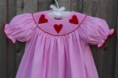 Pink Smocked Heart Dress from Smocked Auctions