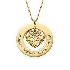 Heart Family Tree Necklace in 18k Gold Plating | MyNameNecklace