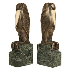 Art Deco Chryselephantine Bookends by Marcel-André Bouraine | From a unique collection of antique and modern bookends at http://www.1stdibs.com/furniture/more-furniture-collectibles/bookends/