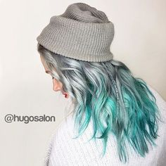 Metallic Silver hair color to turquoise hair color melt by Hugo Salon. … - New Hair Design Turquoise Hair Color, Ombre Hair Color, Coloured Hair, Dye My Hair, Mermaid Hair, Crazy Hair, Hair Highlights, Rainbow Highlights, Silver Highlights