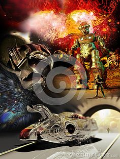 Futuristic shuttle with pilot in it, at the pier of a space station. Alien astronaut with white eyes, inside his suit, at the foreground of an alien planet and cosmos. Gigantic robot and alien solfier with a futuristic gun, walking by a rocky planet. A planet exploding. All images of Science fiction, reunited on a single poster.