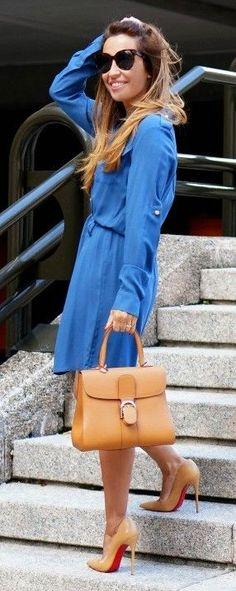 Blue Midi Dress + Pop Of Camel