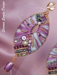 Earrings with shibori silk
