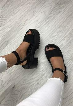 Chunky Platform Sandals - Black Suede by AJ Platform Boots Outfit, Black Platform Sandals, Platform Pumps, Chunky Platform Boots, Pretty Shoes, Cute Shoes, Me Too Shoes, Funky Shoes, Crazy Shoes