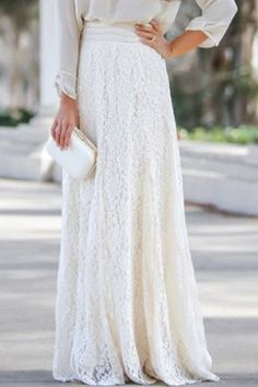 Elegant Lace High-Waisted Maxi Skirt For Women