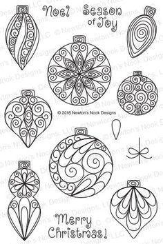 Beautiful Baubles | 4x6 Photopolymer Stamp Set | Newton's Nook Designs