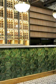 Luxe Ceramic tile with colour - bold in a subtle way - mature, serene, interesting, different Bar Interior Design, Restaurant Interior Design, Commercial Interior Design, Cafe Design, Commercial Interiors, Bar Lounge, Bar Tile, Bar Counter Design, Nightclub Design
