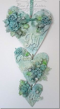 Beautiful heart wall art made with MDF Essentials Hearts and mixed media...Gorgeous!
