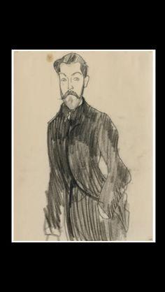 """Amedeo Modigliani - """" Paul Alexandre, la main gauche dans la poche """", 1909 - Black crayon on paper - 26,7 x 20 cm"""