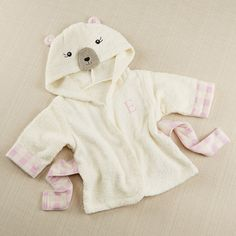 Personalized Beary Bundled Hooded Cream and Pink Robe by Beau-coup
