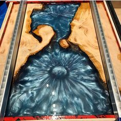 Check out this incredible EcoPoxy pour by These are the clients that drove all the way from Cleveland for Epoxy and slabs! Cant wait to see this finished! Diy Resin Table, Epoxy Wood Table, Epoxy Resin Table, Diy Resin Crafts, Wood Crafts, Wood Projects, Woodworking Projects, Project Projects, Woodworking Wood