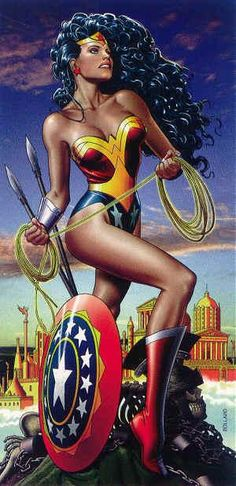 Wonder Woman by Brian Bolland, in Deborah DePaola's Prints/Lithos Comic Art Gallery Room Wonder Woman Art, Wonder Woman Kunst, Wonder Women, Comic Book Artists, Comic Book Characters, Comic Character, Comic Books Art, Comic Art, Superman