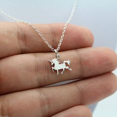 Tiny Unicorn Necklace  925 Sterling Silver  door HelloCharmsHQ