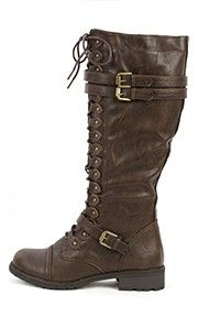 Wild Diva Timberly-65 Lace Up Combat Boots