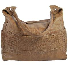 Large leather shoulder bag with decorative weaving by Cadelle Leather. 8ae6dd3b9e0db