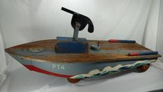 """Vintage Mili-Toys 48"""" WWII Mosquito Squadron PT Boat ride-on~Military pedal car 