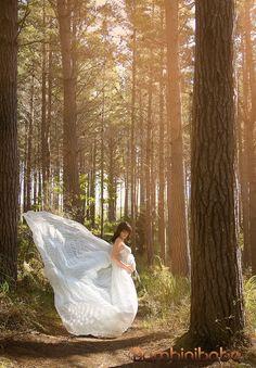 White Chiffon Maternity Gown
