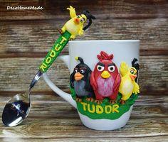 Polymer clay mug - Angry birds