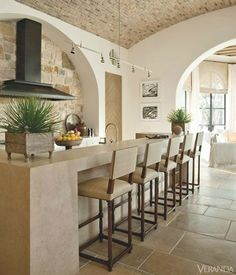 kitchen with stone wall