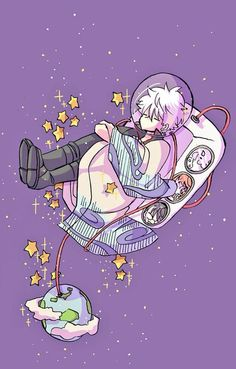 Gintoki touching the stars Arte Do Kawaii, Kawaii Art, Kawaii Drawings, Cute Drawings, Aesthetic Art, Aesthetic Anime, Arte Copic, Arte 8 Bits, Gintama Wallpaper
