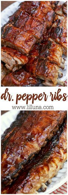Super simple fall-off-the-bone Dr. Pepper ribs - our new favorite way to make Ribs!! { lilluna.com } Packed with lots of flavor - Dr. Pepper and BBQ sauce, these are a great summer recipe!!
