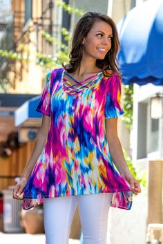 Kind of a Big Deal Colorful Criss Cross Top Shop Simply Me Boutique SMB – Simply Me Boutique