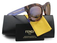 FENDI FF0025/S Sunglasses Tortoise w/Violet Mirror (07OK) 0025 7OK IH 50mm Authentic. Model: FENDI FF0025/S. Color Code: (07OK) Tortoise w/Violet Mirror Lens. Gender: Women. Size: 50-22-140. Made: Italy.