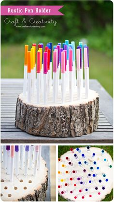 Rustic pen holder made from a tree trunk segment. http://craftandcreativity.com/blog/page/12/#