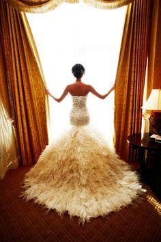 This wedding dress is giving us LIFE.   Paul Barnett Photography