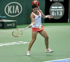 #3-Seed Carla Suarez Navarro def. #7-Seed Magdalena Rybarikova 6 - 2, 6 - 3 to advance to the SFs of the 2014 Katowice Open. 4/11/14